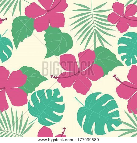Vector illustration hibiscus flower. Exotic seamless pattern