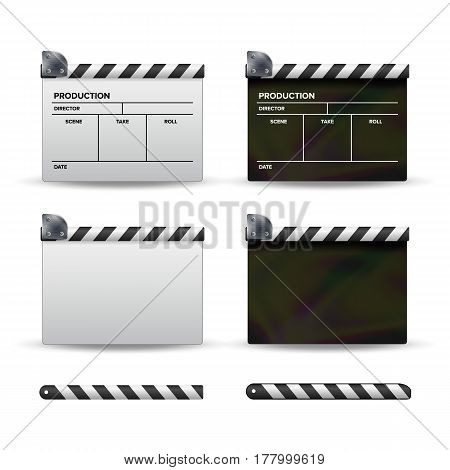 Clapper Board Vector. Set Of Movie Clapper Board. Template Symbol For Film And Video.