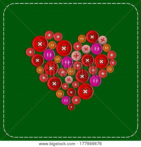 Button-heart. Background picture. Red to green. Plastic buttons sewn with white thread. Vector Image.