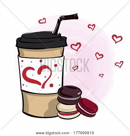 Hand Drawn Vector Illustration With Coffee To Go Cup And Mini Macaroons