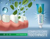 Antibacterial toothpaste ads. Vector 3d Illustration with toothpaste and mind leaves. Poster with product. poster