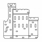 Concrete castle with peaks in Scotland.Fortification of the ancient Scots.Scotland single icon in outline style vector symbol stock web illustration. poster