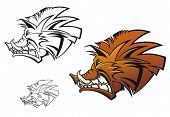 Wild boar in cartoon style as a tattoo or mascot poster