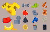 Vector drawings set of waste and garbage for recycling. Container reuse separation household waste garbage icons. Household waste garbage icons garbage trash rubbish recycling ecology environment. poster