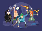 People with torches and pitchforks. Angry characters, fire torch, anger and fury, protest villager, illustration poster