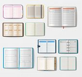 Set of open realistic notebooks with pages diary office sheet template booklet and blank paper education copybook organizer vector illustration. Memo hardcover textbook planner text pad. poster