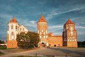 Mir, Belarus. Mir Castle Complex On Blue Sunny Sunset Sky Background. Architectural Ensemble Of Feudalism, Cultural Monument, UNESCO Heritage. Famous Landmark In Summer poster