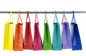 Colorful Shopping Bags on white background poster