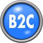 Blue design B2C in round 3D button poster