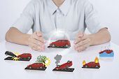 business salesman agent protection car insurance. concept accident prevention healthcare. poster
