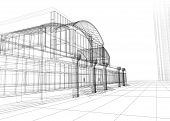 3D rendering wireframe of office building white background. Concept - modern architecture designing. poster