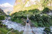 Woman backpacker crossing suspension bridge in Himalayas Nepal. Trekking and hiking with backpack in high mountains. Annapurna Himal Range on Annapurna Circuit Trek. Autumn season in Nepal Asia. poster