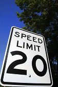 Speed limit 20 sign against blue sky. poster