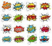 Sound replicas or comic speech bubbles for crash and wham, explosion bang and boom message with bomb, oops and oh, pow and snap fighting clouds, zap and omg, wtf. Onomatopoeic expressions poster