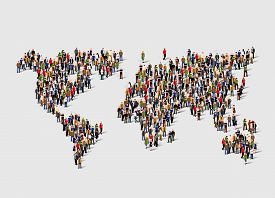 Group of people in form of world map. Globalization, population, social concept. Vector illustration