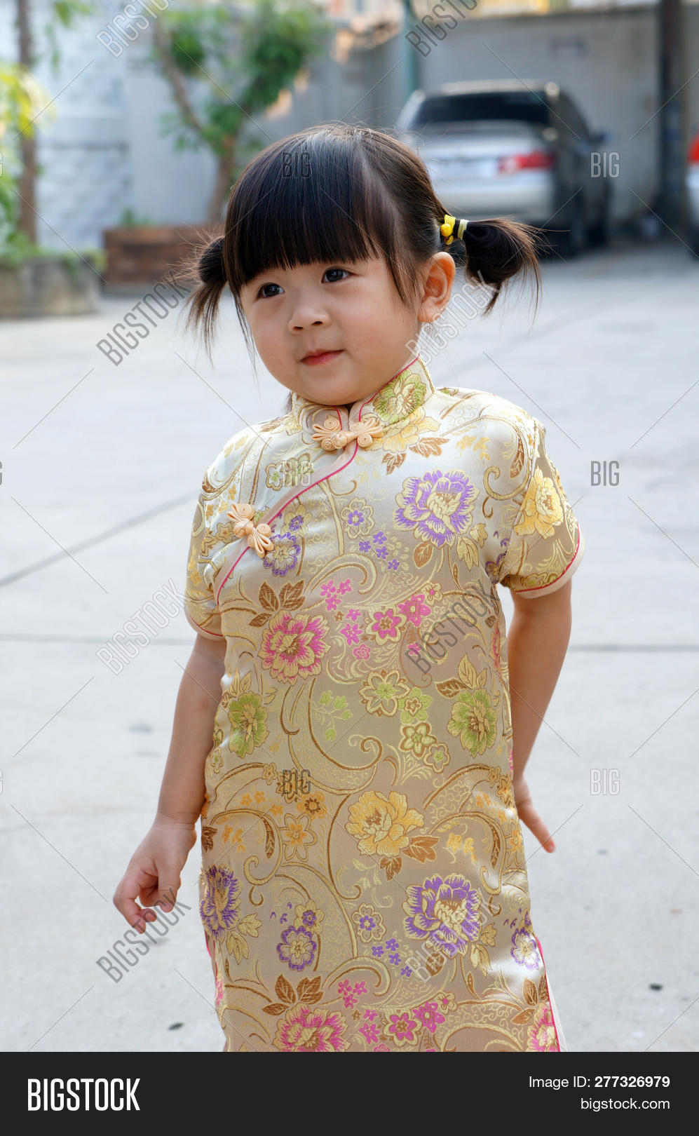 a214aee6615e Gold Chinese Dress ,close Up Happy Little Asian Girl In Chinese Traditional  Dress. Happy