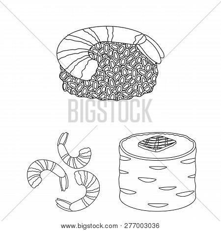 Vector Illustration Of Sushi And Fish Symbol. Collection Of Sushi And Cuisine Vector Icon For Stock.