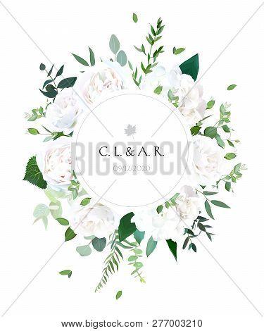 Round Botanical Vector Design Frame. White Rose, Hydrangea, Eucalyptus, Ranunculus, Emerald And Mint