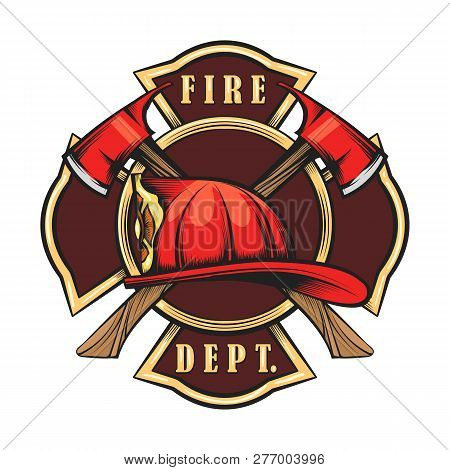Fire Department Emblem With Red Helmet And Axes. Firefighter Badge Drawn In Engraving Style. Vector