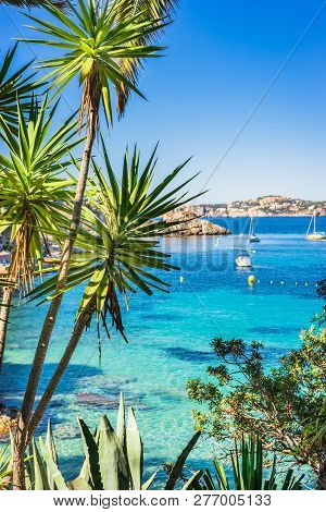 Idyllic View Of Cala Fornells Seaside Bay With Anchored Boats, Majorca Spain, Mediterranean Sea