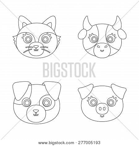 Vector Design Of Animal And Habitat Sign. Collection Of Animal And Farm Stock Vector Illustration.
