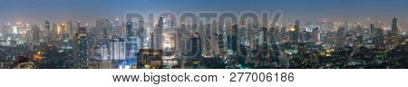 Blurred Night Panorama Of The Metropolis Bangkok City Downtown Cityscape Urban Skyline Tower Thailan
