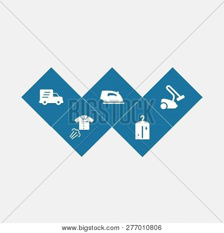Set Of 5 Cleanup Icons Set. Collection Of Vacuum Cleaner, Delivery, Dry Cleaning And Other Elements.