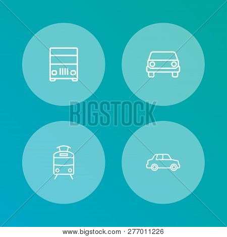Set Of 4 Transport Icons Line Style Set. Collection Of Car, Truck, Streetcar And Other Elements.