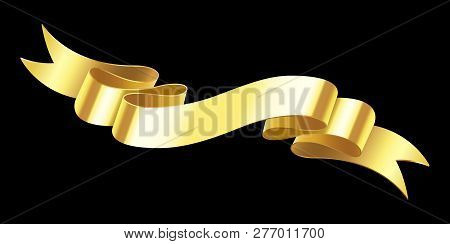 Realistic Gold Banner. Golden Horizontal Celebration Ribbon. Scroll Ribbons And Award Banners Isolat