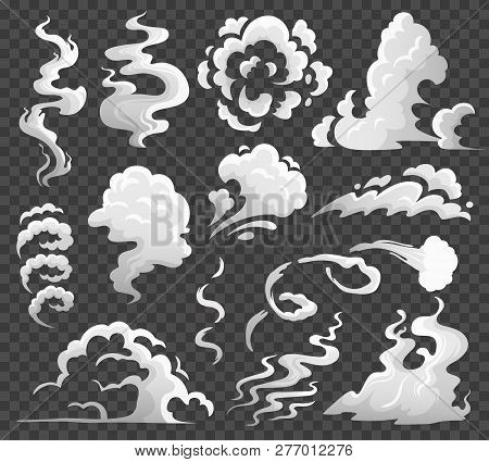 Smoke Clouds. Comic Steam Cloud, Fume Eddy And Vapor Flow. Dust Clouds Isolated Cartoon Vector Illus