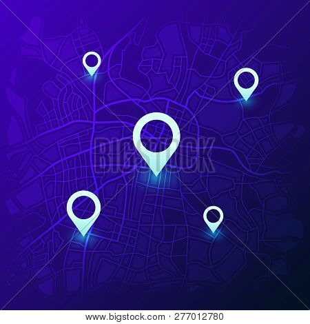 City Navigation Map. Futuristic Gps Location Navigator, Travel Maps With Pins And Navigate Street Ro