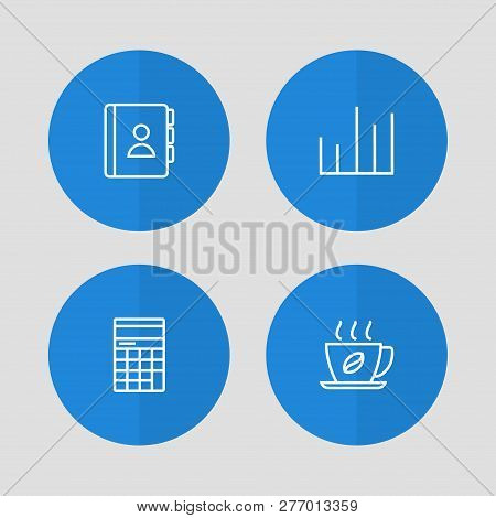 Set of 4 bureau icons line style set. Collection of diagram, calculator, address book and other elements. poster