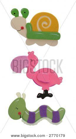 Caterpillar, Flamingo And Snail