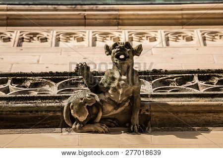 Stone Gargoyle Of A Historical Old Building