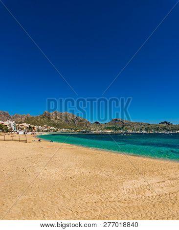 Beautiful Sand Beach Bay At Port Of Pollenca, Majorca Island, Spain