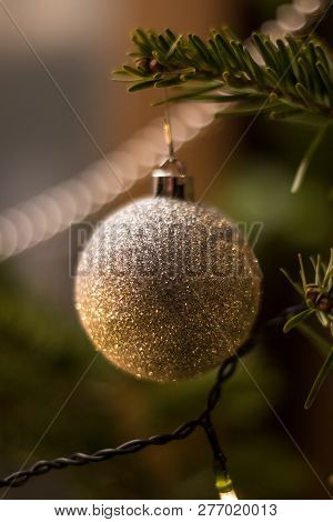Decorated Christmas Tree With Christmas Tree Ball And Candlelight