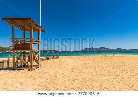 Majorca Beach, Beautiful Seaside At Bay Of Pollenca, Spain Mediterranean Sea