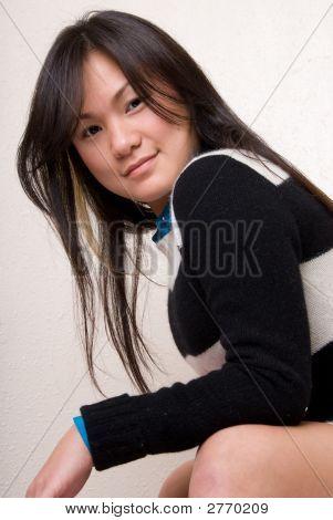 Asian Model Posing Leaning Forward - Fashion Series