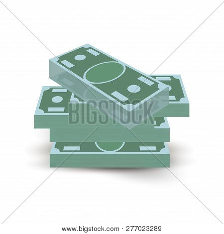Paper Money Dollar Cash Stack Isometric View Symbol Illustration. Business Finance Investment Or Loa
