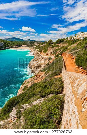 Beautiful Bay Beach Of Cala S Estany D En Mas, Cala Romantica On Majorca, Spain Balearic Islands