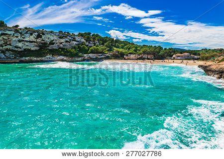 Beautiful Seaside On Mallorca Island, Beach Cala Romantica, S Estany D En Mas, Spain Balearic Island