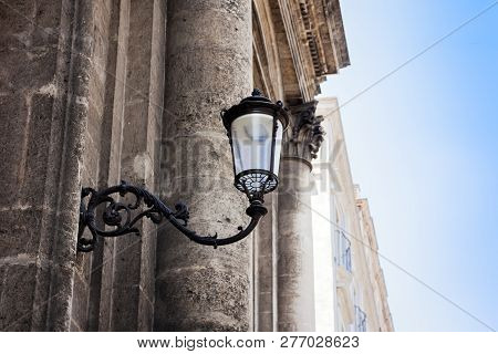 Old Street Lamppost - Vintage Light On Historical Building In Catania, Sicily, Italy