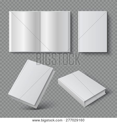 Realistic Book Cover. Blank Brochure Cover Mockup, White Paperback Surface, Empty Textbook Magazine