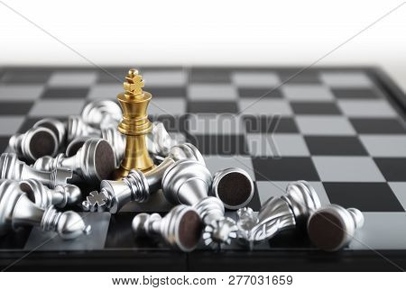 Chess (king Wins The Game) On White Background. Success, Business Strategy, Victory, Win, Winner, In
