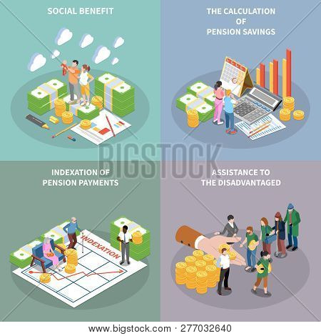 Social Security Unemployment Benefits Unconditional Income Isometric 2x2 Design Concept With Banknot