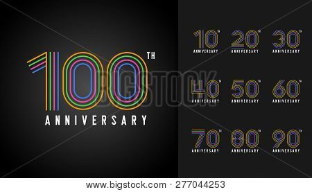 Set Of Anniversary Logotype. Colorful Anniversary Celebration Icons Design For Company Profile, Book