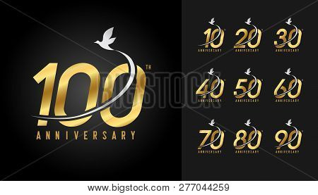 Set Of Anniversary Logotype. Golden Anniversary Celebration With Flying Bird. Design For Company Pro