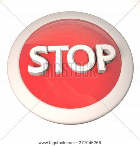 Stop Button Over White Background