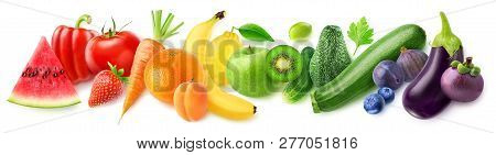 Isolated Fruits In A Line. Rainbow Made Of Fresh Fruits And Vegetables Isolated On White Background