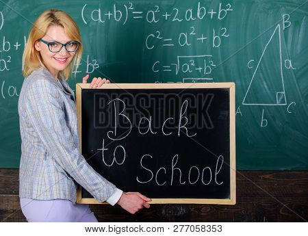 Great Beginning Of School Year. Top Ways To Welcome Students Back To School. Teacher Woman Hold Blac